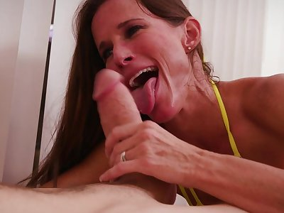 Mature pleases young step son with insane BJ