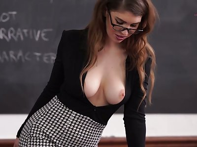 Red haired teacher Katie Louise is flashing big knockers and telling chap-fallen stories