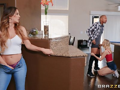 Lucky dude got surprised with a threesome by hot Cherie DeVille