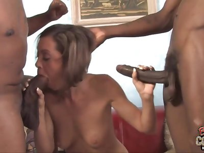 Naughty blacklist MILF slut gangbang video