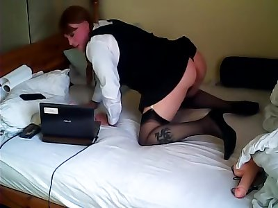 St Trinian's outfit plus sucking a Dildo