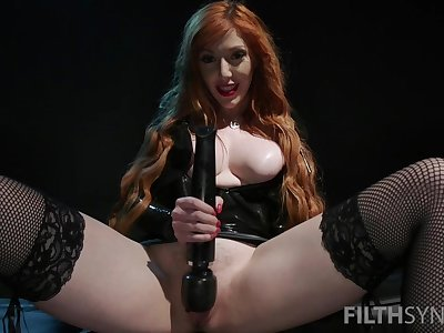 Nasty mistress Lauren Phillips forces her slave to eat his own cum