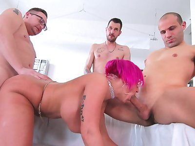 Three hard up persons fuck get under one's married cougar until she swallows their jizz
