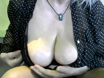 Old grand mature with big boobs masturbate on the chairman