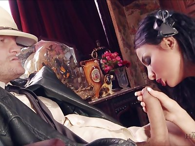 Astonishing and glum brunette maid Anissa Kate is fucked unwrought by studs