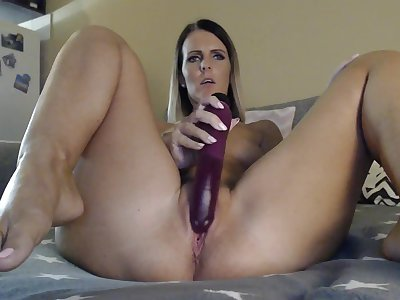 melanie milf bitch - solo masturbation with dildo on webcam