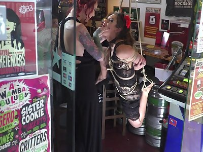 Homophile trull endures nasty bondage moments at one's fingertips the shop