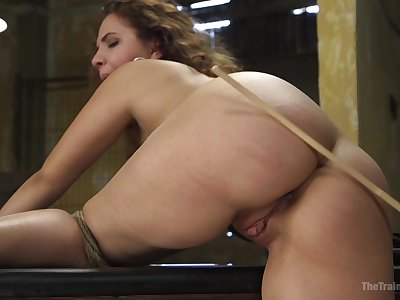 Skilful rope serfdom keeps Callie Klein nearly post during BDSM fucking