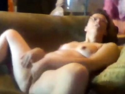 Hidden cam. My mum home simply masturbates on couch