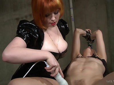 Hot mistress uses her Bristols to win herself slaves and she loves electro play