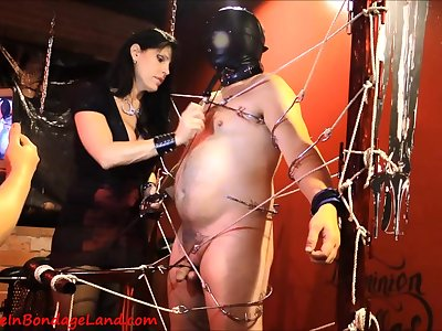 Chunky slave guy and two kinky domina MILFs