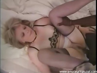 Group sex with blonde MILF coupled with insane nigger