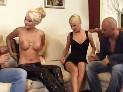 Two Venereal Blonde Europeans Fucked In Foursome