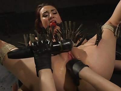 Clamped bitch ass fucked by the brush dominant mistress