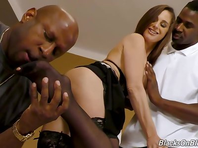 Duo black guys are screwing a big titted housewife, at come up to time, essentially the sofa