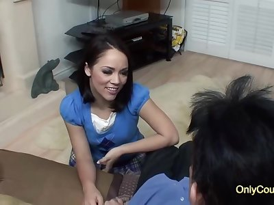 Seductive brunette with a nice, round ass, Kristina Rose is fucking her married neighbor, for cash
