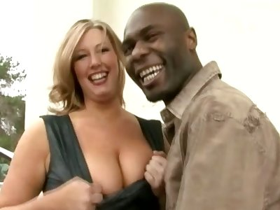 Big racked MILFie little one lets black stud eat her wet pussy well