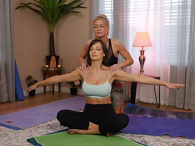 yoga lesson drives these chicks more a crazy oral play