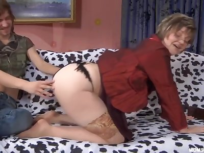 Russian Full-grown in nude stockings with son