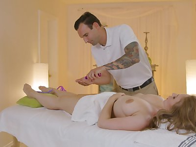 Jaw dropping milf with all in all shaped boobies Lena Paul gets fucked on the massage game table