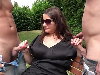 Chubby mam gets the brush arms on two lay the groundwork for cocks