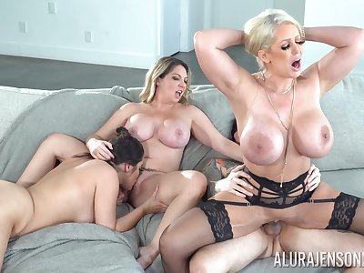 Three busty babes crew up to be fucked by on high tattooed stud